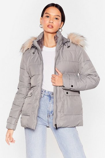 Grey Taking Cover Padded Faux Fur Jacket