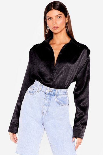 Black A Weight Off Your Shoulder Pad Satin Shirt