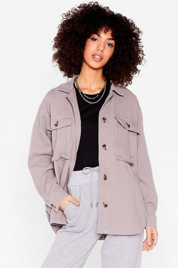 Grey Oversized Utility Pocket Shirt Jacket
