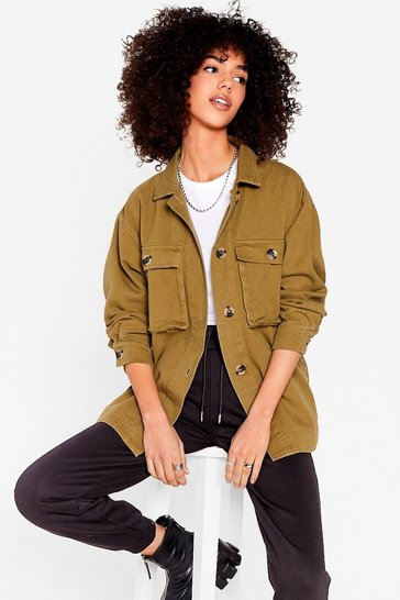 Olive Dish the Shirt Oversized Utility Jacket