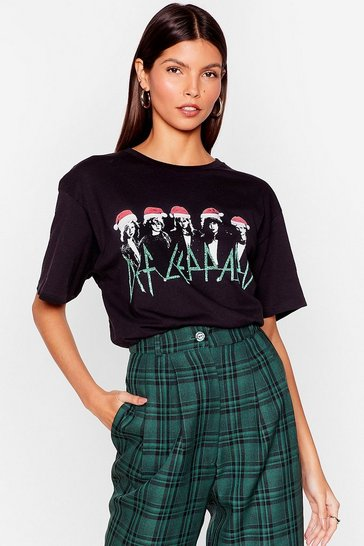 Black Def Leppard Christmas Graphic Band Tee