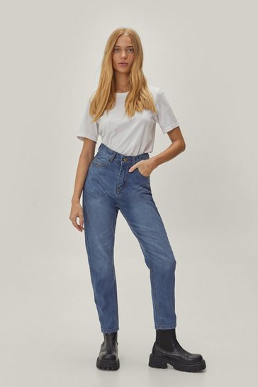 Mid blue Petite High Waisted Mom Jeans