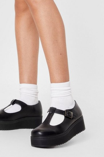 Black Platform Buckle Up Mary Jane Shoes