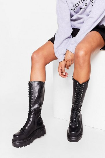 Black Lace-Up and at 'Em Knee High Chunky Biker Boots