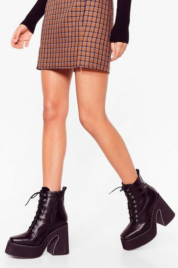 Black That's Flare Enough Lace-Up Platform Boots