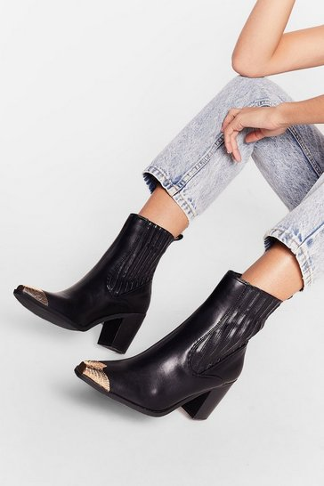 Black Metal Toe Cap Heeled Ankle Boots