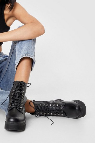Black Lace Up Platform Biker Boots