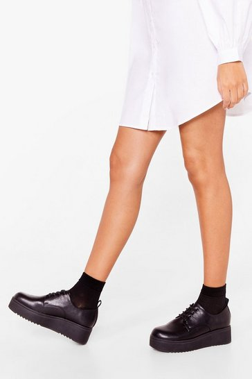 Black The Loveable Brogue Platform Shoes