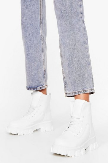 White Track 'Em Down Cleated Biker Boots