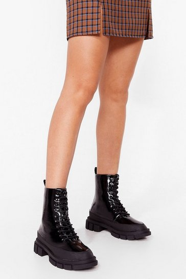 Black One of a Shine Patent Heeled Boots