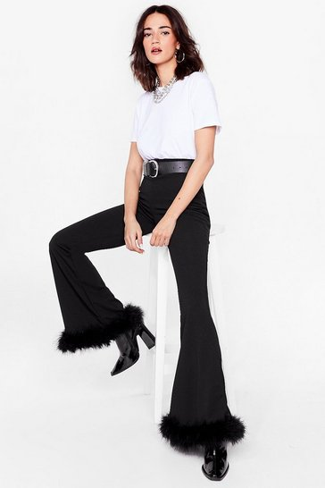 Black We'll Feather Forget You Petite Flare Pants