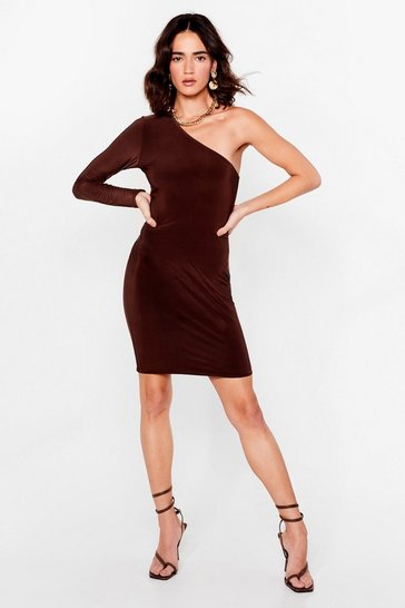 Chocolate One Shoulder 'Em Your Good Side Petite Dress