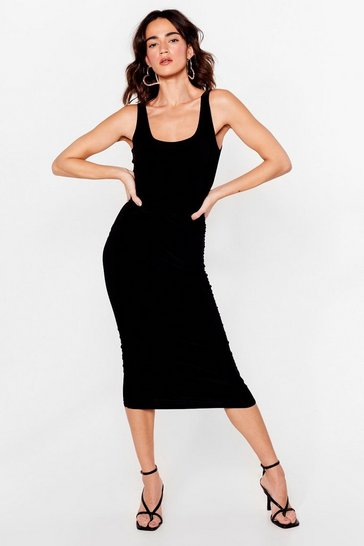 Black Slinky Ruched Bodycon Midi Dress