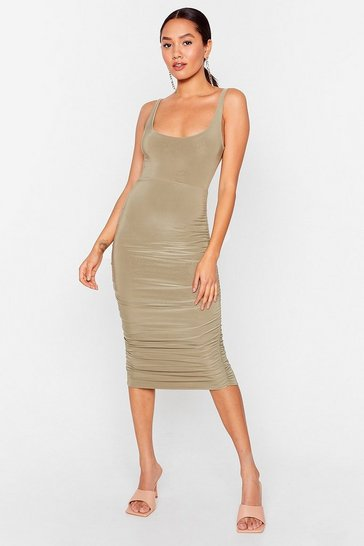 Sage Forget What They Slink Strappy Midi Dress