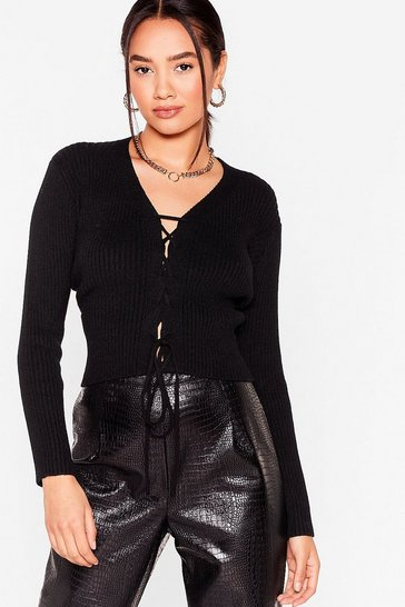 Black Try Knit On Petite Lace-Up Jumper