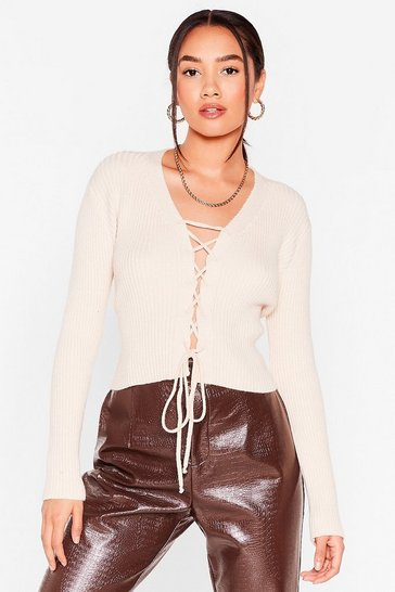 Cream Try Knit On Petite Lace-Up Sweater