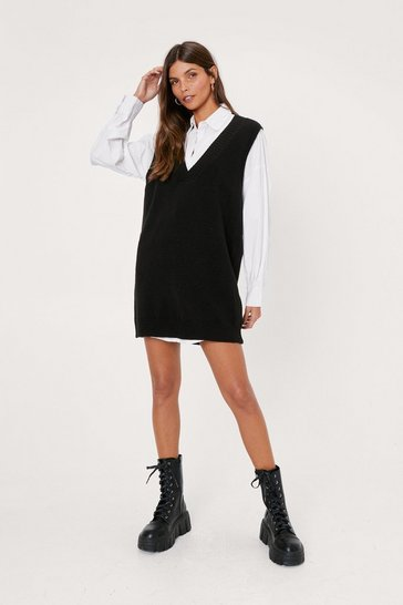 Black V Back Soon Knitted Mini Dress