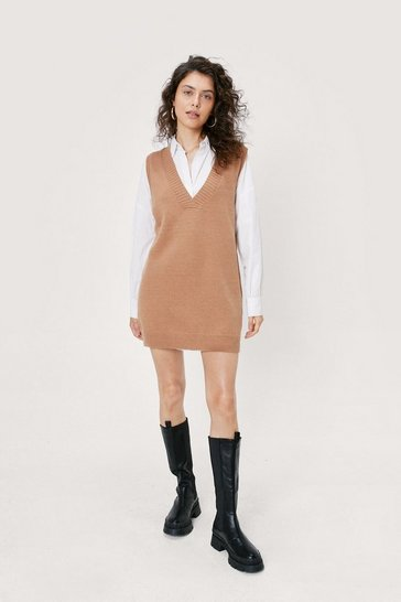 Camel V Back Soon Knitted Mini Dress
