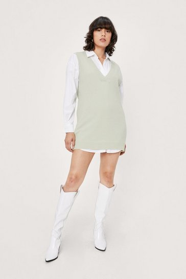 Sage V Back Soon Knitted Mini Dress