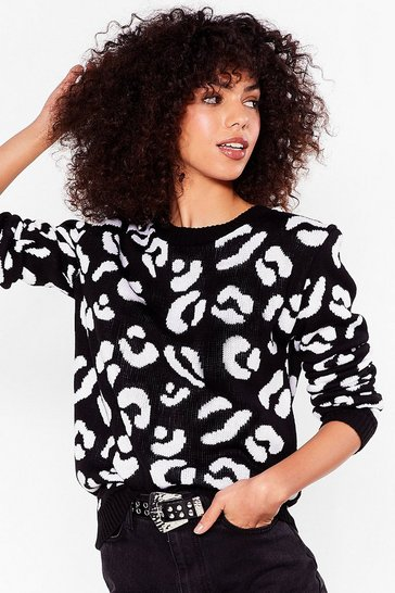 Black Leopard Crew Neck Knit Sweater