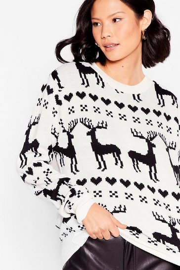 Cream Oh Deer Holiday Fair Isle Sweater