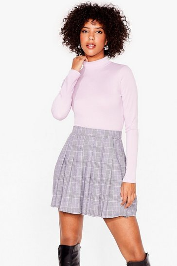 Lilac Ribbed Knit Fitted Turtleneck Top