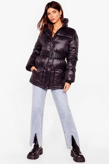 Black Singing in the Rain Padded Belted Longline Jacket