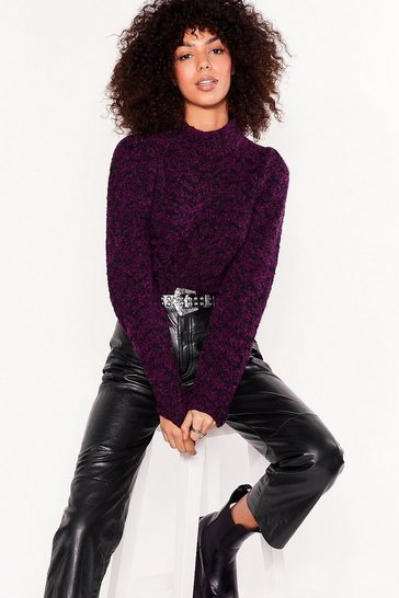 Purple Knit's Our Chance High Neck Puff Sleeve Jumper
