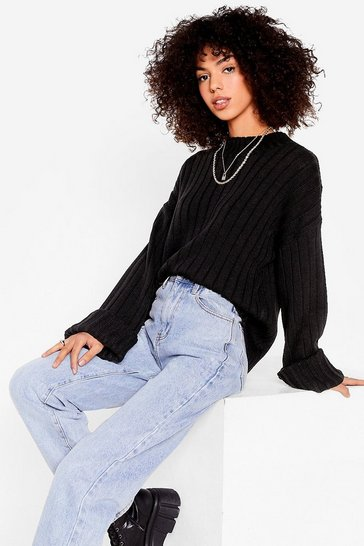 Black Keep Knit on the Down Low Ribbed Knit Sweater