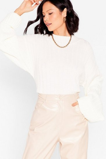 Cream Keep Knit on the Down Low Ribbed Knit Sweater
