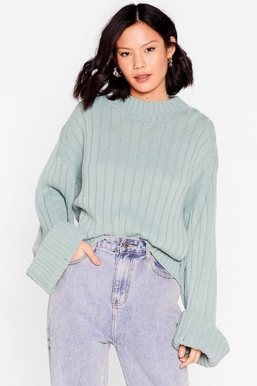 Sage Keep Knit on the Down Low Ribbed Knit Sweater