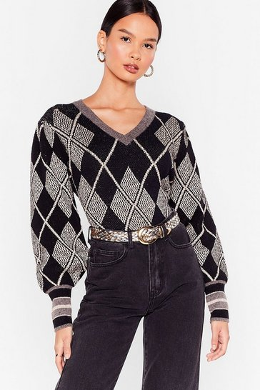 Black Diamond Knit Puff Sleeve V Neck Jumper