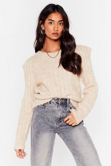 Stone Cable Knit Shoulder Padded Jumper