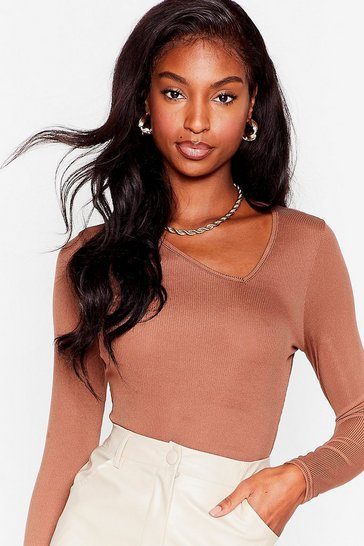 Brown Call It Even Ribbed Asymmetric Bodysuit