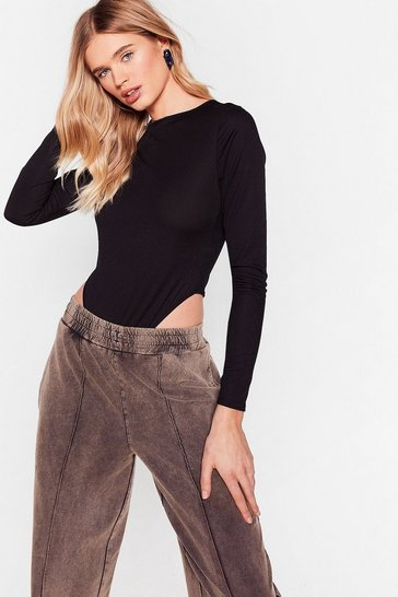 Stone If Only They Crew Ribbed High-Leg Bodysuit