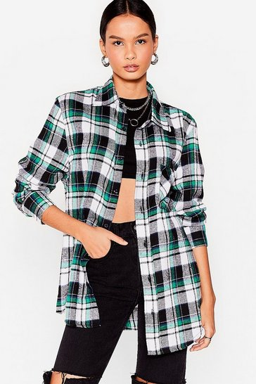Green How Grid That Happen Oversized Check Shirt