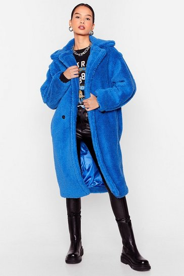 Blue Don't Lose Touch Faux Fur Longline Coat