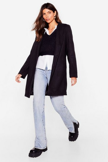 Black Wool You Or Won't You Faux Wool Longline Coat