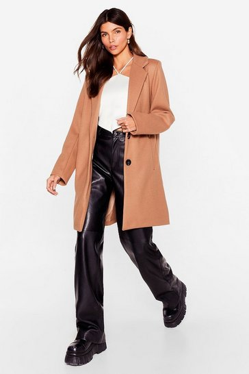 Camel Wool You Or Won't You Faux Wool Longline Coat