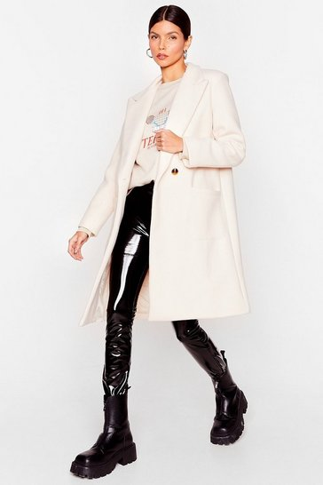 Beige Layer Your Love on Me Faux Wool Longline Coat