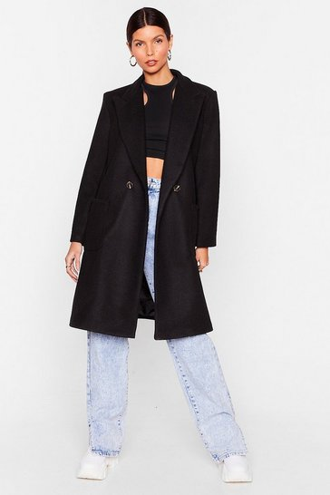 Black Layer Your Love on Me Faux Wool Longline Coat