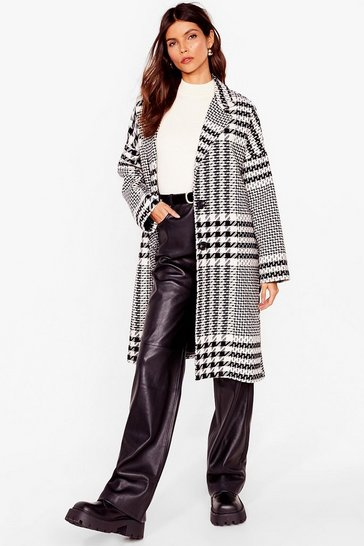 Black Our New Houndstooth Love Faux Wool Longline Coat