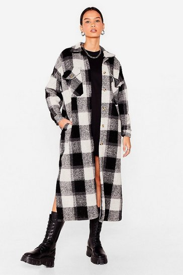 Black Check Straight to It Longline Shirt Jacket
