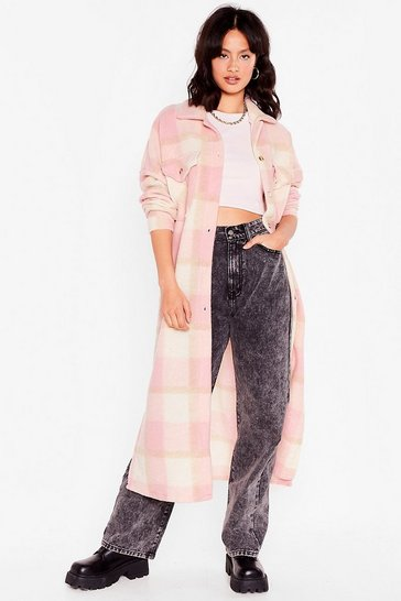 Pink Check Straight to It Longline Shirt Jacket