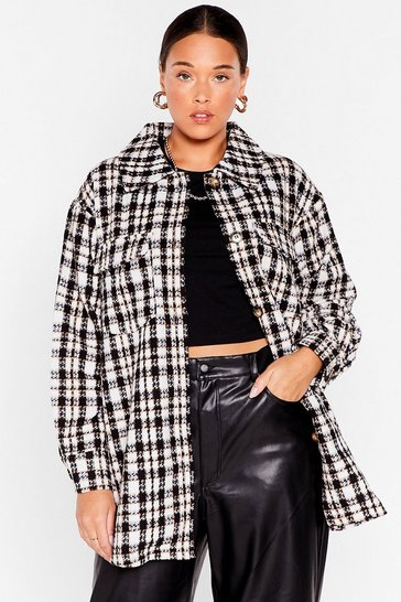 Black Check On It Plus Shirt Jacket