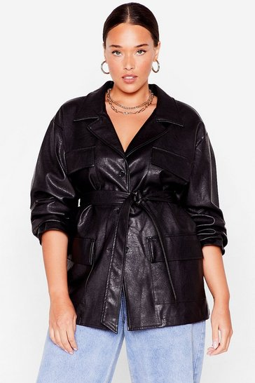 Black Plus Size Belted Faux Leather Jacket
