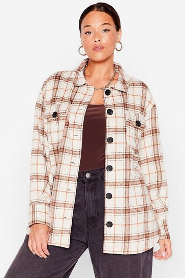 Brown Plus Size Casual Plaid Shacket