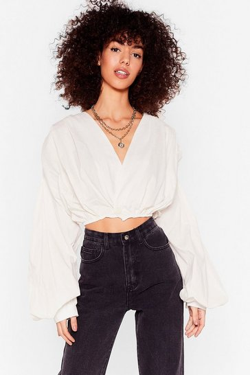 White Crop Playing Games Balloon Sleeve Wrap Blouse
