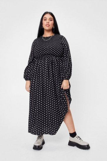 Black Plus Size Polka Dot Print Shirred Midi Dress