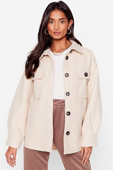 Beige Oh Pocket About It Faux Wool Shirt Jacket